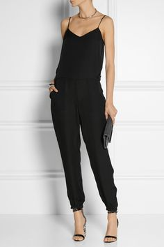 THEORY Stassia silk-georgette jumpsuit J.CREW + Sophia Webster Nicole patent-leather and calf hair sandal DIANE VON FURSTENBERG 440 Envelope glitter-finished suede clutch JENNIFER FISHER + Stop It Right Now rhodium and silver-plated neck cuff
