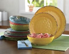 12-Piece Melamine Crackle Swirl Dinnerware Set.  Love the colors but can't microwave :(