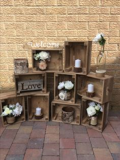 Welcome crate display. We can Taylor our crates for a unique welcome display adding our finishing touches.  £35 hire fee