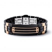 Zancan Black Steel Men's Bracelet with Black Carbon Diamonds and Gold Accents