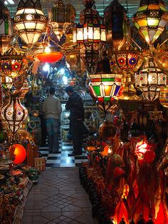 Colorful Lights in a Souk, Marrakech, Morocco  Get ready to bargain...  #monogramsvacation