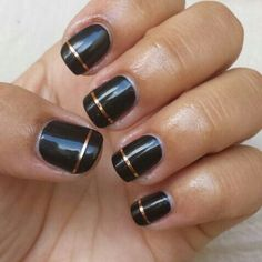 Glossy black rose gold stripe