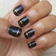 Glossy black rose gold stripe