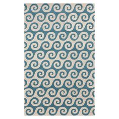 Highlighted by scrolling ivory and sky blue bands, this hand-tufted wool rug adds a touch of Mediterranean allure to your decor.   ...