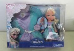 NEW Disney Frozen Elsa Toy Doll and Toddler Girls Costume Dress 2T-4T Gift Set