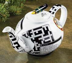 Crosswords Personal Teapot ~ I could drink tea from this pot while I work the crosswords puzzle. Chocolate Pots, Chocolate Coffee, Teapots Unique, Ideas Prácticas, Teapots And Cups, Pot Sets, Ceramic Teapots, Sweet Tea, Tea Time