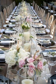 Gorgeous country chic wedding table setting with pink roses and hydrangeas. {Viera Photographics}