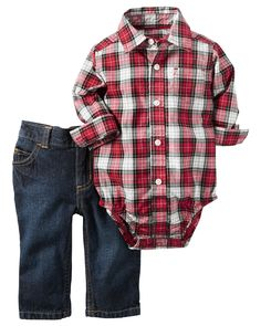 Complete with classic denim and a plaid poplin bodysuit, he's ready for holiday celebrations in this easy outfit set.