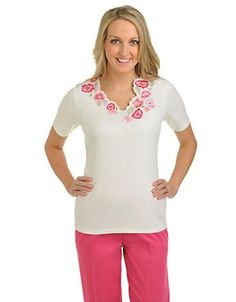 ALLISON DALEY Knit Short Sleeve Scallop V Neck with Embroidery - Fashion Deals