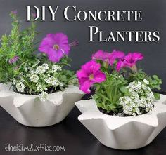 scalloped concrete planters from thrift store bowls, concrete masonry, gardening, repurposing upcycling