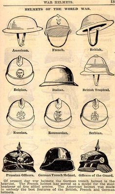 A guide for identifying the helmets of different countries' infantry during WWI.:
