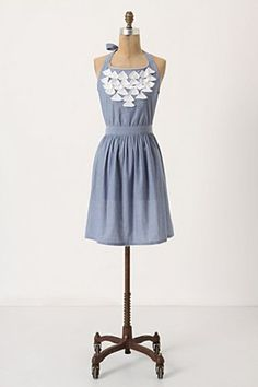 Fluttered Chambray Apron | Anthropologie.