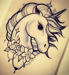 Unicorn Head 430 (Pack of . Unicorn Tattoo Stencil  Pencil Art Drawings, Art Drawings Sketches, Cute Drawings, Animal Drawings, Tattoo Drawings, Drawings Of Unicorns, Tattoos To Draw, Hipster Drawings, Unicorn Drawing