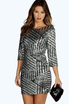 Boutique Rianna Sequin Bodycon Dress
