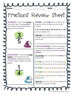 Fractions Review Sheet II - GCF, LCM, LCD, Mixed Numbers, Equivalent and Improper Fractions Study Guide - 7 pages of review and 1 FREE practice sheet.