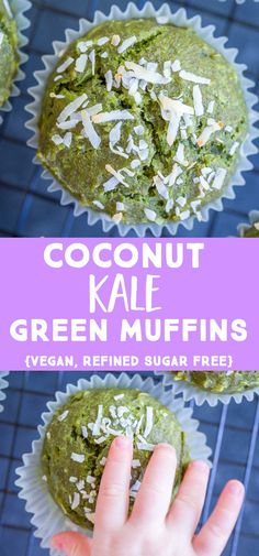 These Coconut Kale Green Muffins are the perfect way to get your child to eat their greens! Theyre packed with kale but Kale Recipes Vegan, Healthy Muffin Recipes, Vegan Recipes Videos, Best Vegetarian Recipes, Healthy Muffins, Baby Food Recipes, Healthy Snacks, Recipes Dinner, Easy Recipes