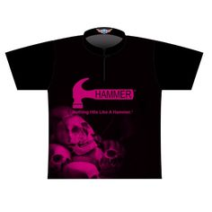 5ae334d6e1 Hammer Dye Sublimated Jersey Style 0357. Black shirt with pink skulls.  Nothing Hits Like