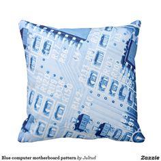Blue computer motherboard pattern throw pillow. #modern #photograph #contemporary