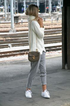 "the–one: "" White High Neck Sweater Grey Pants """