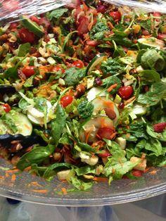 Summer Salad!!! Fresh berries, pecans, baby spinach, carrots, oranges, Roman lettuce, baby tomatoes, fresh garlic and basil bread, Ice Berg Lettuce & balsamic vinaigrette.