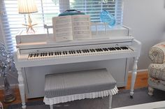 piano makeover and bench slipcover