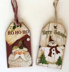 """3""""x6"""" Wood Tag Christmas Ornament Primitive Country Rustic Snowman / Santa Great for Christmas trees, Wreaths, Entryways, Centerpieces, and more. Great Craft embellishment!"""
