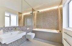 Dyed and pure white hexagon freshwater Mother of Pearl mosaics : Modern bathroom by ShellShock Designs