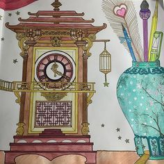 Instagram media biancajames__ - | THE TIME CHAMBER |  My absolute favourite colouring book  stoked with how the clock turned out  #thetimechamber #thetimechambercoloringbook #mindfulness #adultcolouring #adultcoloringbook #dariasong