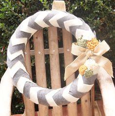 Gray & Ivory Chevron Felt #Wreath by Sheswickedcrafty on Etsy, $30.00