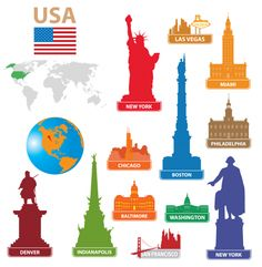 Illustration about Symbols city USA. Illustration for you design. Illustration of denver, philadelphia, country - 21878462 Free Vector Images, Vector Free, Eps Vector, Around The World Theme, National Landmarks, Silhouette Vector, Travel Themes, Science For Kids, Classroom Themes
