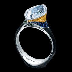 ART STONES HIGH JEWELLERY RING Ref: AS*1 002 WBF134 18K White Gold diamonds sapphires rubies