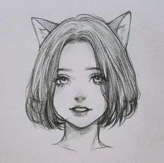 Drawing Eyes, Art Drawings Sketches Simple, Pencil Art Drawings, Manga Drawing, Girl Pencil Drawing, Easy Drawings, Manga Art, Pencil Sketches Of Faces, Manga Anime