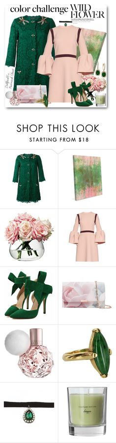 """Wild Flowers"" by stacyapark on Polyvore featuring Dolce&Gabbana, LSA International, Roksanda, Ted Baker, Vintage, Zara Taylor, Effy Jewelry, colorchallenge and greenandblush"