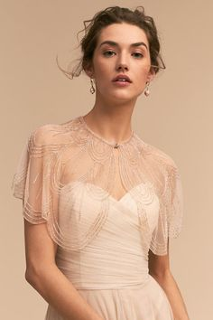 Jenny Yoo Gleam Capelet from BHLDN wedding cape great gatsby Wedding Dress Sleeves, Long Sleeve Wedding, Wedding Dress Topper, Bridal Cape, Bridal Gowns, Wedding Cape, Bridal Headpieces, Bridal Musings, Capelet