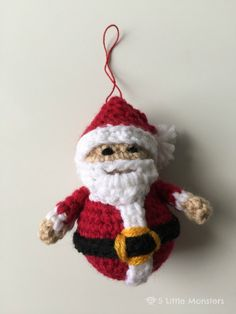 5 Little Monsters: Crocheted Santa Ornament