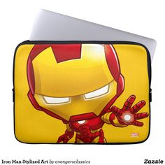 Shop Iron Man Stylized Art Laptop Sleeve created by avengersclassics. Neoprene Laptop Sleeve, Laptop Sleeves, Iron Man Cartoon, Luke Cage, Computer Sleeve, Green Goblin, Custom Laptop, Incredible Hulk, Doctor Strange