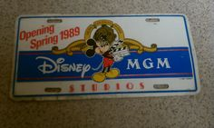 Disney collectible Mickey Mouse License Plate Disney MGM Studio license plate Vintage Disney Vintage auto Collectible Disney
