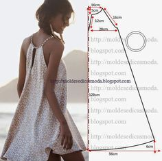 simple summer dress pattern 18 -(warning: this pattern is not in English) moldes moda por medida Sewing Hacks, Sewing Tutorials, Sewing Crafts, Sewing Projects, Sewing Tips, Diy Clothing, Sewing Clothes, Clothing Patterns, Clothes Refashion