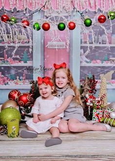 8ft x 8ft Christmas Store Backdrop for Photos  by MyBackdropShop