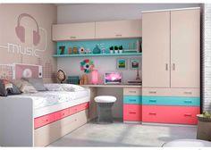 Dormitorio juvenil: Dormitorio Infantil con compacto (nido + cajones) | Habitación Infantil compuesto por compacto 1 cama, 4 cajones y somier nido de arrastre. Mesa de est