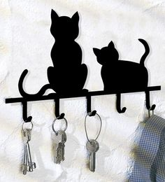 Wieszak na klucze KOTY Kitchen Hooks, Cat Key, Storage Hooks, Wall Mount Bracket, Wall Mounted Coat Rack, Wall Hanger, Moose Art, Retro, Home Decor