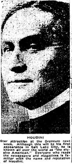 "Photo of Harry Houdini, published in the Salt Lake Telegram newspaper (Salt Lake City, Utah), 16 December 1915. Read more on the GenealogyBank blog: ""Houdini: Remembering the Magical Life of Erik Weisz."" http://blog.genealogybank.com/houdini-remembering-the-magical-life-of-erik-weisz.html"