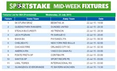 #SportStake Midweek Fixtures - 22 July 2015
