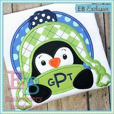 Penguin Peeker Applique  This design is to by EmbroideryBoutique2
