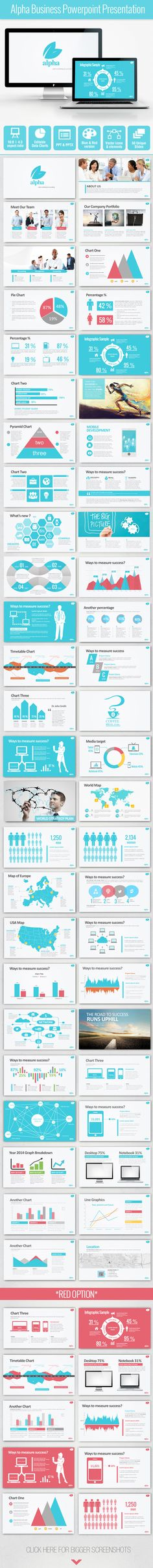 Alpha Business Powerpoint Presentation Get a modern Powerpoint Presentation that is beautifully designed and functional. Everything in the presentation is inserted as vector objects and can be broken apart and recolored as you like.Vectors are better cause it scales and prints better, and can't become pixelated.This presentation is very easy to edit, change fonts, colors and images. I hope my hard work will save you time and money.If there are any questions, please feel free to contact me.