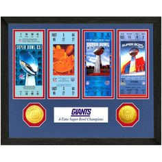 2d8c72b79 New York Giants Super Bowl Ticket Collection Wall Frame
