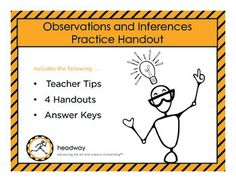 4 practical handouts for observations and inferences! The first two handouts contain a picture, 5 statements that students identify as an observation or inference. The students will then write their own observation and inference of the picture. The third handout contains 15 statements that students identify as an observation or an inference. Science Worksheets, School Worksheets, Science Resources, Middle School Teachers, Middle School Science, Teaching Tools, Teaching Resources, Teaching Ideas, Reading Strategies