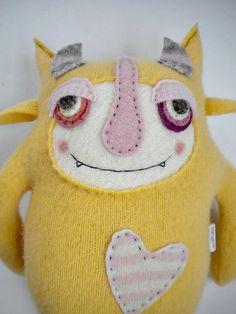 Stuffed Animal Monster Yellow Wool Angora Sweater by sweetpoppycat, $50.00