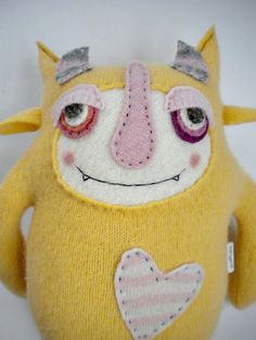 Stuffed Animal Monster Yellow Wool Angora Sweater by sweetpoppycat, $50.00