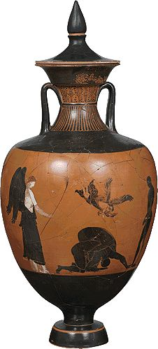 Panathenaic amphora. It was manufactured during the archonship of Kallimedes (360/359 BC).